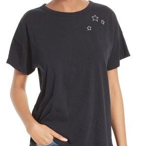 Rag & Bone   Black Embroidered Star Cotton Tee